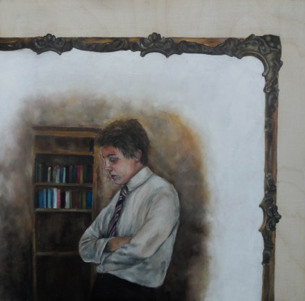 Oil on white-washed wood panel. 250 x 250
