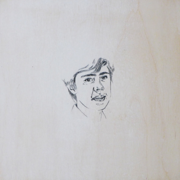 Ink on white-washed wood panel. 250 x 250 mm