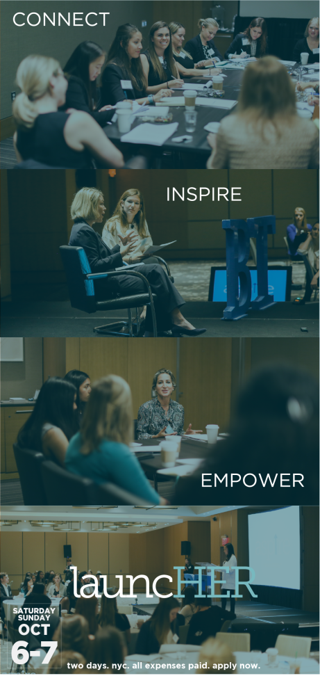 Promotional material for a Business Today sponsored initiation supporting women in Business.
