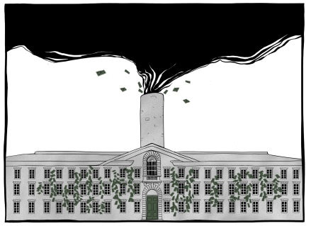 An illustration that accompanied a column in The Daily Princetonian about Princeton's investment in Fossil Fuel.
